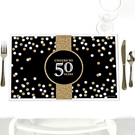 Adult 50th Birthday - Gold - Party Table Decorations - Birthday Party Placemats - Set of 12