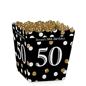 Adult 50th Birthday - Gold - Party Mini Favor Boxes - Personalized Birthday Party Treat Candy Boxes - Set of 12