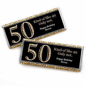 Adult 50th Birthday - Gold - Personalized Candy Bar Wrappers Birthday Party Favors - Set of 24