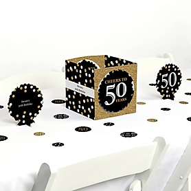 Adult 50th Birthday - Gold - Birthday Party Centerpiece and Table Decoration Kit