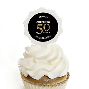 Adult 50th Birthday - Gold - Personalized Birthday Party Cupcake Pick and Sticker Kit - 12 ct