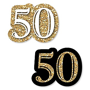 Adult 50th Birthday - Gold - DIY Shaped Party Paper Cut-Outs - 24 ct