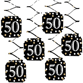 Adult 50th Birthday - Gold - Birthday Party Hanging Decorations - 6 ct