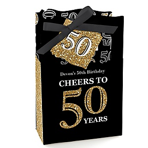 Adult 50th Birthday - Gold - Personalized Birthday Party Favor Boxes - Set of 12