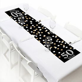 Adult 50th Birthday - Gold - Personalized Birthday Party Petite Table Runner