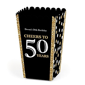 Adult 50th Birthday - Gold - Personalized Birthday Party Popcorn Favor Treat Boxes - Set of 12