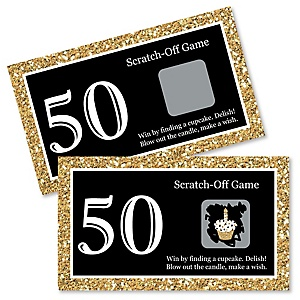 Adult 50th Birthday - Gold - Birthday Party Game Scratch Off Cards - 22 ct