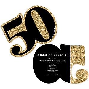 Adult 50th Birthday - Gold - Shaped Birthday Party Invitations - Set of 12