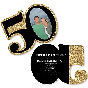 Adult 50th Birthday - Gold - Personalized Shaped Photo Birthday Party Invitations - Set of 12