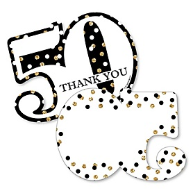 Adult 50th Birthday - Gold - Shaped Thank You Cards - Birthday Party Thank You Note Cards with Envelopes - Set of 12