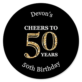 Adult 50th Birthday - Gold - Personalized Birthday Party Sticker Labels - 24 ct