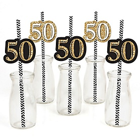 Adult 50th Birthday - Gold - Paper Straw Decor - Birthday Party Striped Decorative Straws - Set of 24