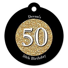Adult 50th Birthday - Gold - Round Personalized Birthday Party Tags - 20 ct