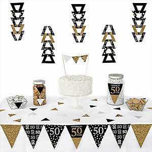 Adult 50th Birthday - Gold -  Triangle Birthday Party Decoration Kit - 72 Piece