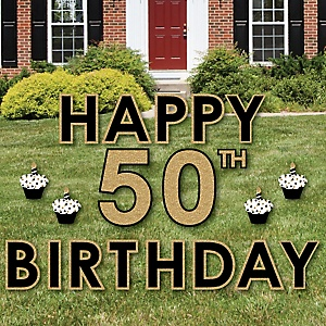 Happy 50th Birthday - Gold - Yard Sign Outdoor Lawn Decorations - Adult 50th Birthday Yard Signs