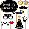 Adult 50th Birthday - Gold - 20 Piece Photo Booth Props Kit