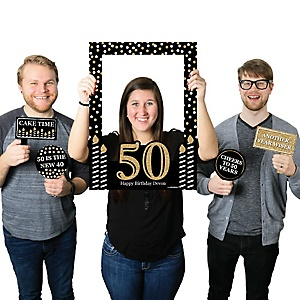 Adult 50th Birthday - Gold - Personalized Birthday Party Selfie Photo Booth Picture Frame & Props - Printed on Sturdy Material