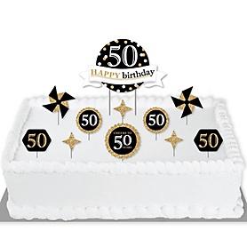 Adult 50th Birthday - Gold - Birthday Party Cake Decorating Kit - Happy Birthday Cake Topper Set - 11 Pieces