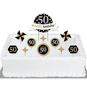 Adult 50th Birthday - Gold - Birthday Party Cake Decorating Kit - Happy Birthday Cake Topper Set - 11 Pieces