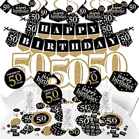Adult 50th Birthday - Gold - Birthday Party Supplies - Banner Decoration Kit - Fundle Bundle
