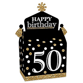 Adult 50th Birthday - Gold - Treat Box Party Favors - Birthday Party Goodie Gable Boxes - Set of 12