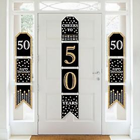 Adult 50th Birthday - Gold - Hanging Vertical Paper Door Banners - Birthday Party Wall Decoration Kit - Indoor Door Decor