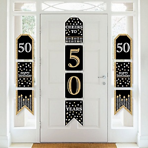 Adult 50th Birthday - Gold - Hanging Vertical Paper Door Banners - Birthday Party Wall Decoration Kit - Indoor Door Decor