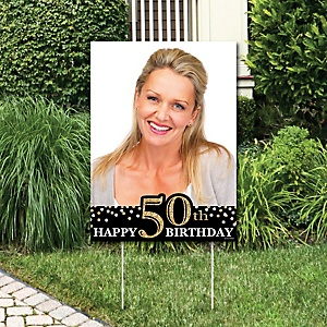 Adult 50th Birthday - Gold - Photo Yard Sign - Birthday Party Decorations
