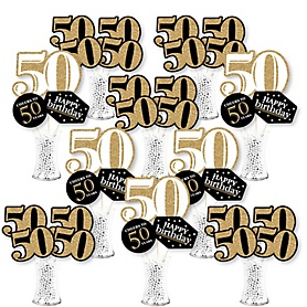 Adult 50th Birthday - Gold - Birthday Party Centerpiece Sticks - Showstopper Table Toppers - 35 Pieces