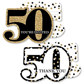 Adult 50th Birthday - Gold - 20 Shaped Fill-In Invitations and 20 Shaped Thank You Cards Kit - Birthday Party Stationery Kit - 40 Pack