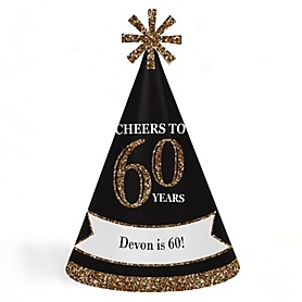 Adult 60th Birthday - Gold - Personalized Cone Happy Birthday Party Hats for Kids and Adults - Set of 8 (Standard Size)