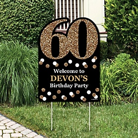 Adult 60th Birthday - Gold - Party Decorations - Birthday Party Personalized Welcome Yard Sign