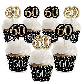 Adult 60th Birthday - Gold - Cupcake Decorations - Birthday Party Cupcake Wrappers and Treat Picks Kit - Set of 24