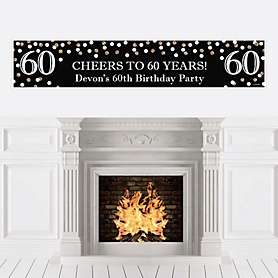 Adult 60th Birthday - Gold - Personalized Birthday Party Banner