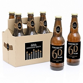 Adult 60th Birthday - Gold - Decorations for Women and Men - 6 Beer Bottle Labels and 1 Carrier - Birthday Gift