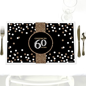 Adult 60th Birthday - Gold - Party Table Decorations - Birthday Party Placemats - Set of 12