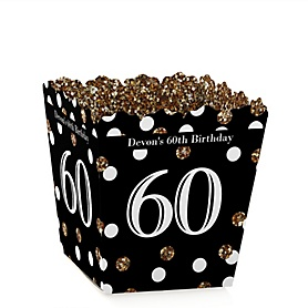 Adult 60th Birthday - Gold - Party Mini Favor Boxes - Personalized Birthday Party Treat Candy Boxes - Set of 12