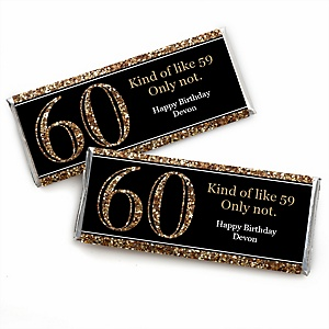 Adult 60th Birthday - Gold - Personalized Candy Bar Wrappers Birthday Party Favors - Set of 24