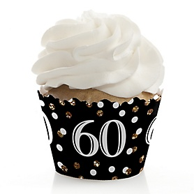 Adult 60th Birthday - Gold - Birthday Decorations - Party Cupcake Wrappers - Set of 12