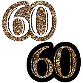 Adult 60th Birthday - Gold - DIY Shaped Birthday Party Paper Cut-Outs - 24 ct