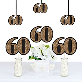 Adult 60th Birthday - Gold - Decorations DIY Party Essentials - Set of 20