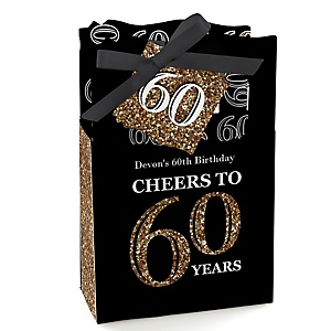 Adult 60th Birthday - Gold - Personalized Birthday Party Favor Boxes - Set of 12