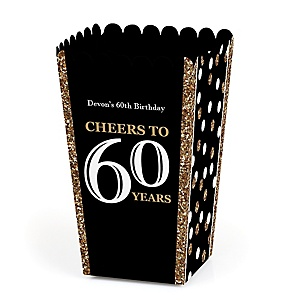 Adult 60th Birthday - Gold - Personalized Birthday Party Popcorn Favor Treat Boxes - Set of 12