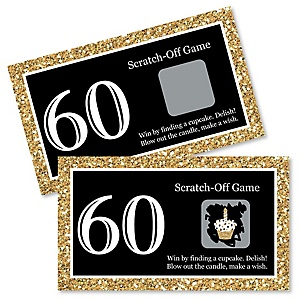 Adult 60th Birthday - Gold - Birthday Party Game Scratch Off Cards - 22 ct