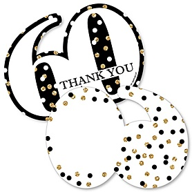 Adult 60th Birthday - Gold - Shaped Thank You Cards - Birthday Party Thank You Note Cards with Envelopes - Set of 12