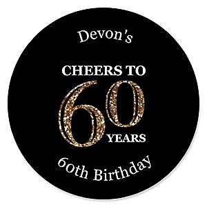 Adult 60th Birthday - Gold - Personalized Birthday Party Sticker Labels - 24 ct