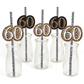 Adult 60th Birthday - Gold - Paper Straw Decor - Birthday Party Striped Decorative Straws - Set of 24