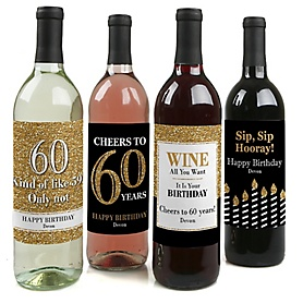 Adult 60th Birthday - Gold - Decorations for Women and Men - Wine Bottle Label Birthday Party Gift - Set of 4