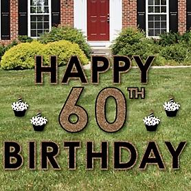Happy 60th Birthday - Gold - Yard Sign Outdoor Lawn Decorations - Adult 60th Birthday Yard Signs