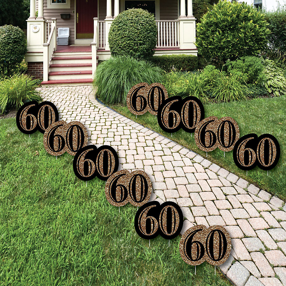 60th Birthday Gold Lawn Decorations Outdoor Party Yard 10 Piece